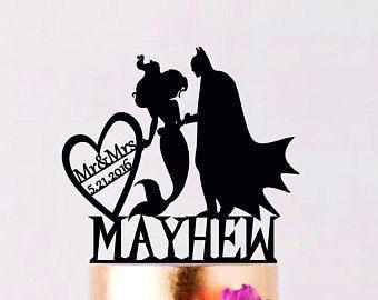 Batman forme de gâteau, Batman gâteau de mariage Topper, Batman Silhouette, M. et Mme Topper, forme de gâteau avec date, Super-héros Topper