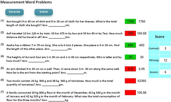 Measurement word problems for math olympiad preparations