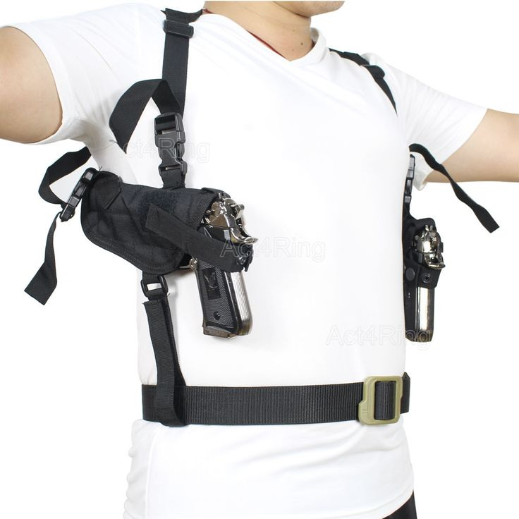 Tactical Double Draw Pistol Holster Concealed HandGun Shoulder Holster Under Arm Pistol Holster Soft Pouch