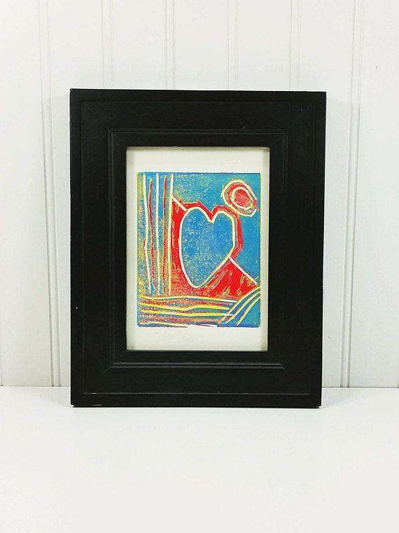 Coeur Et Lune Rouge Et Bleu Abstrait Linogravure Fine Art Print