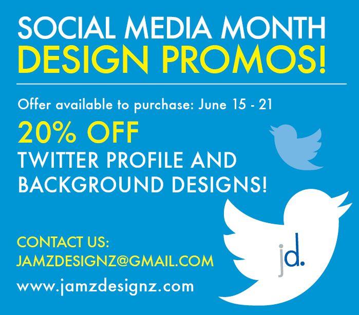 Jamz Designz graphic design promotions for July. #socialmedia #graphicdesign #design #creative #promotion #twitter www.jamzdesignz.com