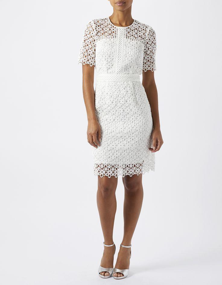 Monsoon | Vincenzina Lace Dress | White | 14