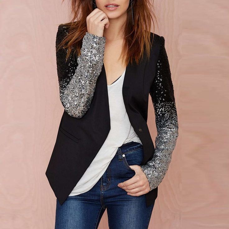 Women's Long Sleeve Silver Black Sequin Blazers