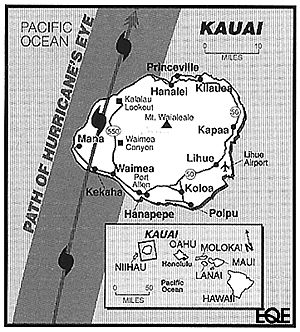 Kauai was in the direct path of the eye of Hurricane Iniki                                                                                                                                                                                 More