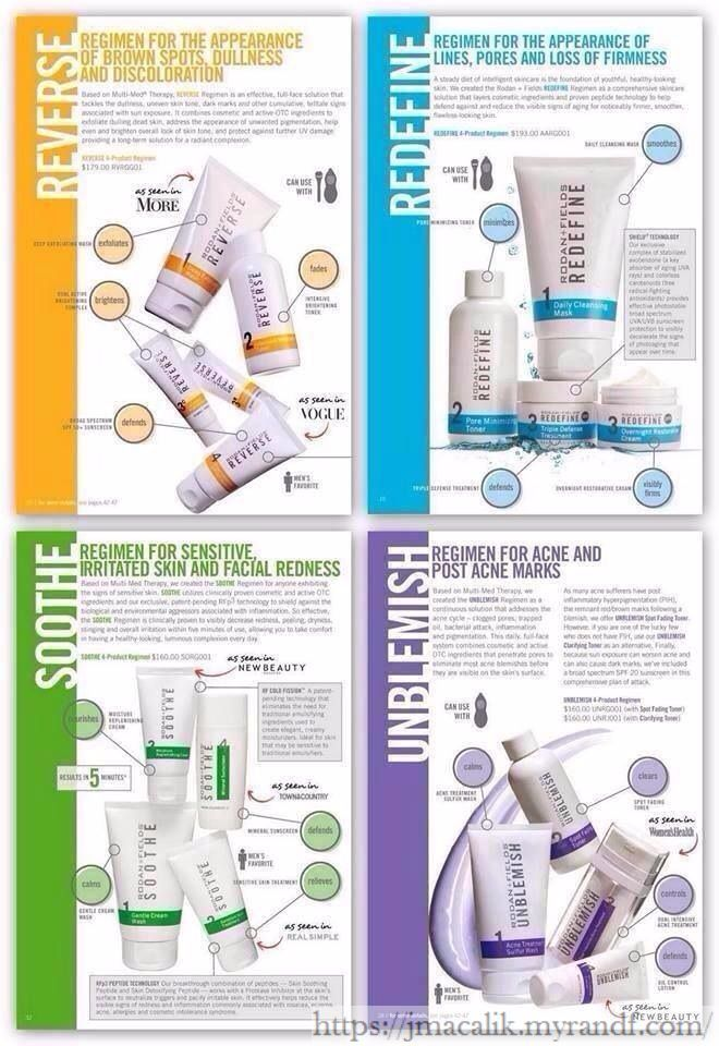 4 Regimens from Rodan + Fields. Right under prescription grade ingredients = real results. How can you argue with great skin care products at prescription level that cost less than going to the dermatologist!