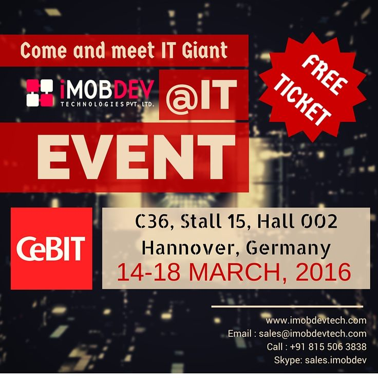 Free Tickets for #CeBIT 2016 #Germany - iMobDev Technologies