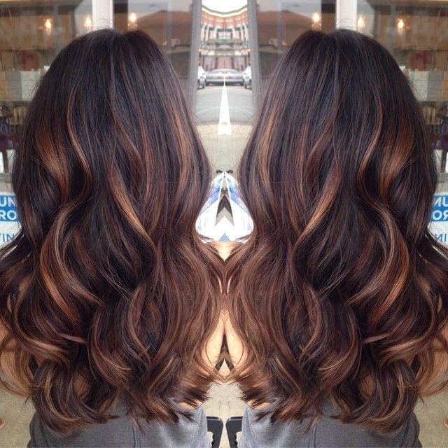 If I ever went multi tonal, golden caramel balayage'd lights on her dark brown hair ♥