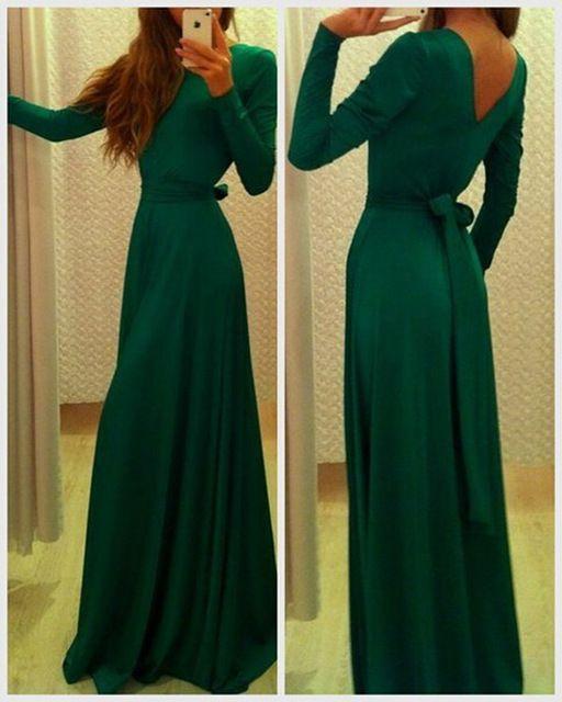 Verde elegante de manga larga vestido de noche una línea de gasa vestido de fiesta de encargo 2015 del envío del nuevo nochevieja vestidos CH2199