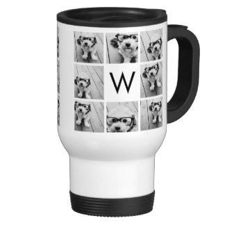 8 Photo Collage Custom Monogram Black and White Mugs