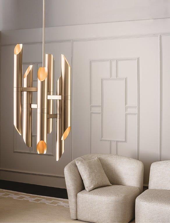 The new bright, elegant suspension lamp  SHARD by Massimiliano Raggi for Casamilano home collection 2016. In the picture: Shard suspension lamp, Chloe small armchair #casamilano #massimiliano raggi #shardsuspension #light #newcollection