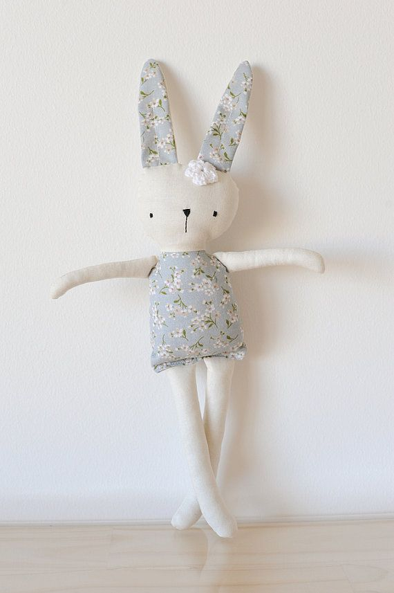 Handmade Rag Doll Bunny by Sara Rosetta plush doll stuffed bunny girls bunny