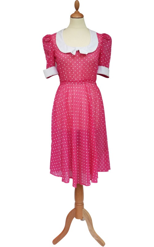 Vintage 80s KARA Pink Dot Elastic Waist Bow Sheer Cotton ...