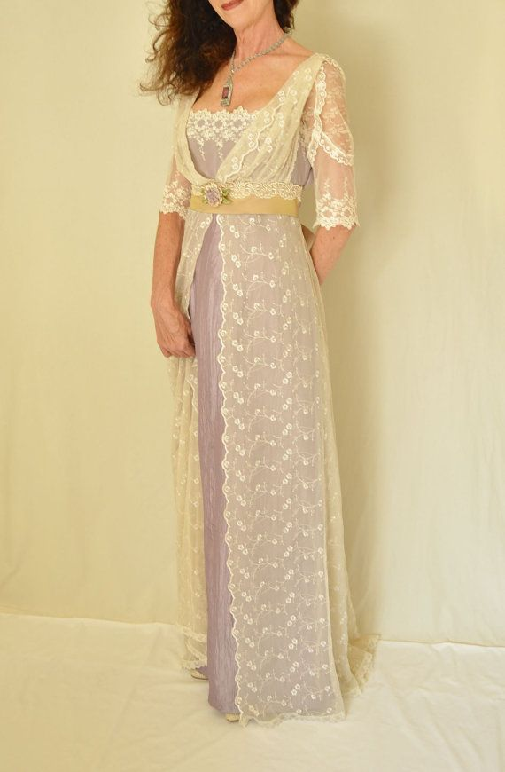 Lace Wedding Dress, Edwardian Downton Abbey Titanic Antique Style Lilac and Lace Gown