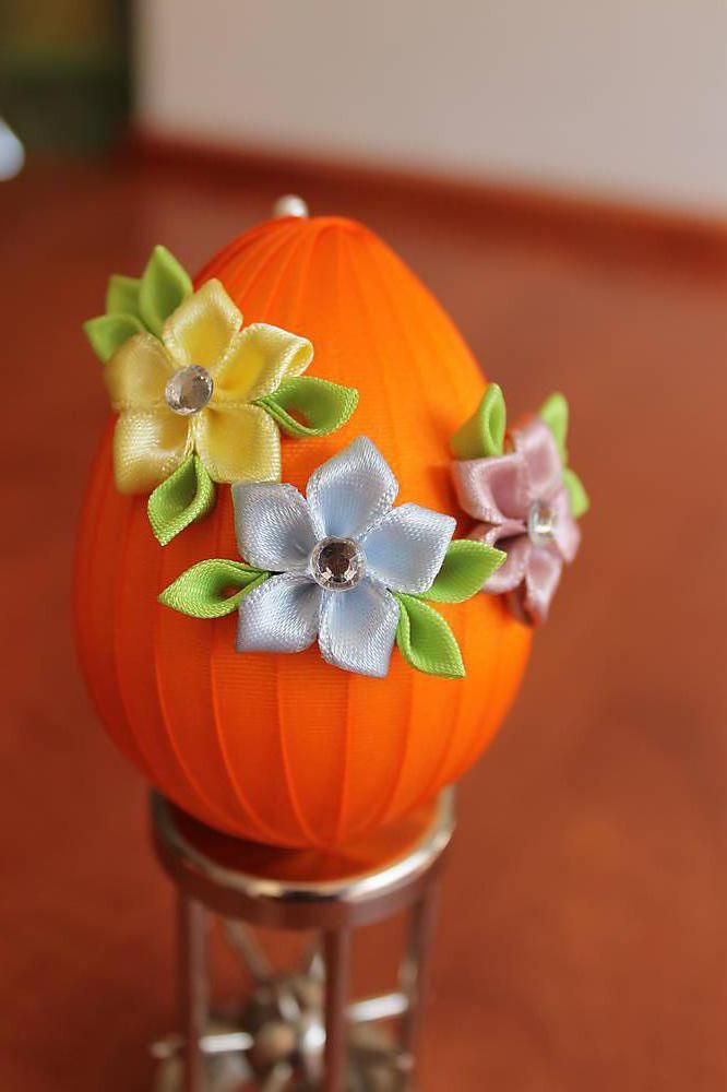 Dekorácie - Oranžové vajíčko - jarné kvietky - 5269829_