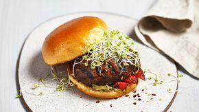 Portabella Burgers with Roasted Red Peppers and Pesto   Recipe   The Fresh Market