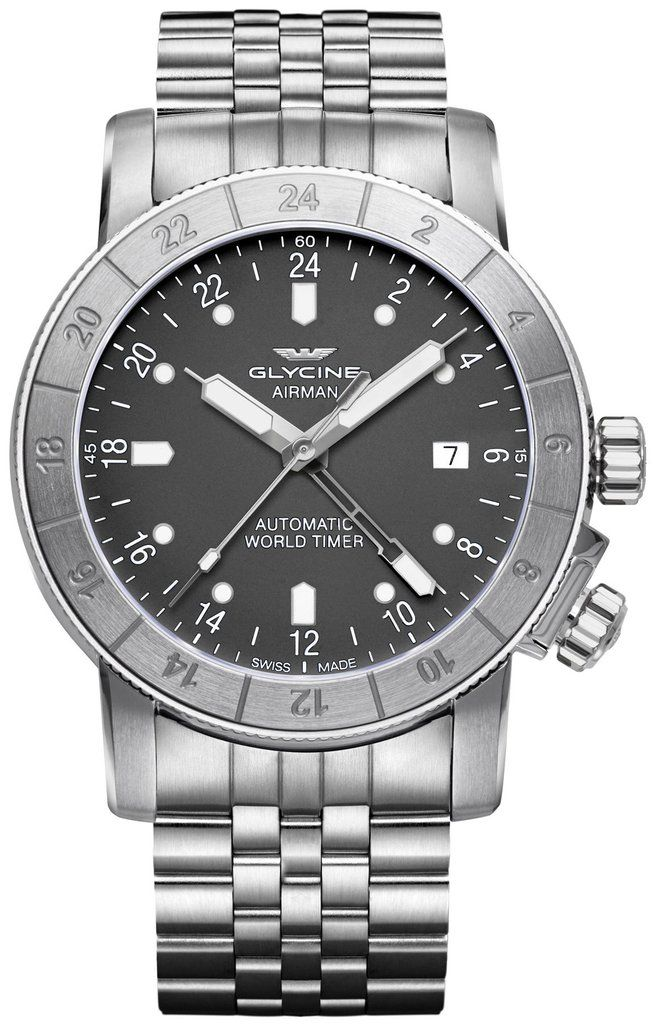 Glycine Watch Airman 42 Pre-Order #add-content #basel-17 #bezel-bidirectional #bracelet-strap-steel #brand-glycine #case-material-steel #case-width-42mm #date-yes #delivery-timescale-call-us #dial-colour-grey #gender-mens #gmt-yes #luxury #movement-automa