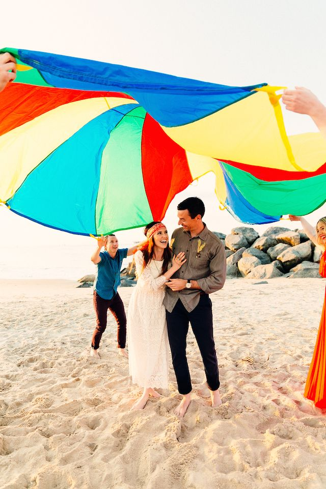 Parachute wedding ideas | Andi and Zoe Photography + Bluebird's Garage | see more on: http://burnettsboards.com/2014/07/beach-wedding-oysters/