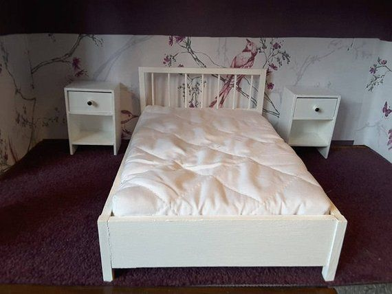 Barbie Doll Size Furniture Bundle Wooden Double Bed 20x30 Cm With Mattress 2 Bedside Tables 8 Cm Wide 12 Cm High Cot