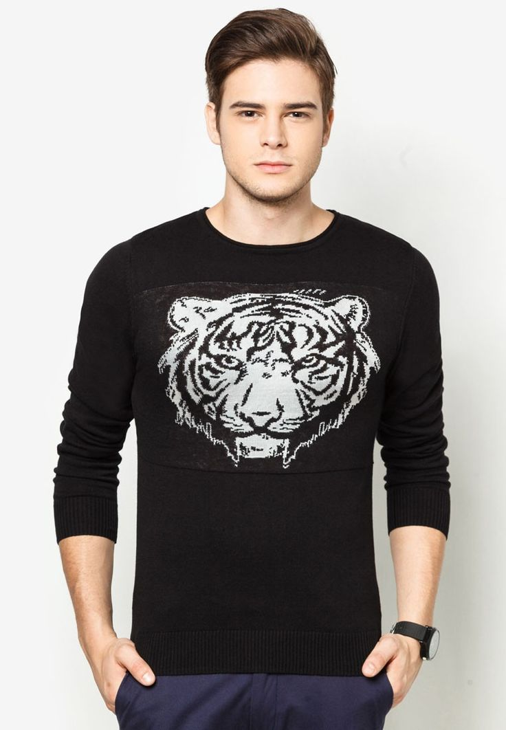 Lightweight Pullover With Embossed Tiger Head Print by 24:01. Made of cotton material in black. Rounded collar, long sleeves. If you want to look like one of those Rich Kids of Instagram, you can use this pullover. http://www.zocko.com/z/JK1Mv