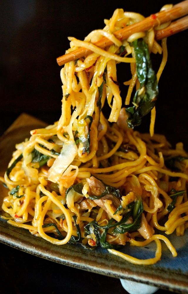 Chile spiced Chinese Noodles with Chicken and Gai Lan-chopsticks