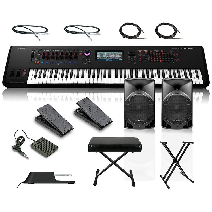 Yamaha Montage 7 76-Key Synthesizer with Powered Speakers Stand Pedals Deluxe Keyboard Bench and Cables