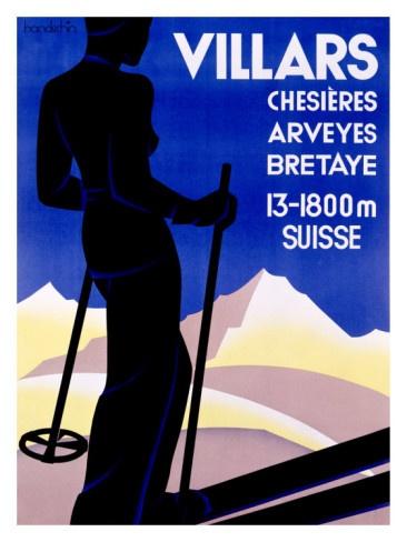 vintage ski poster Villars