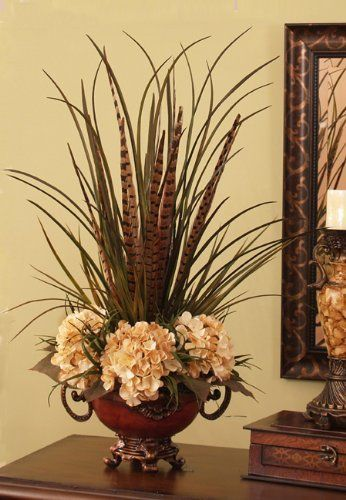 Grasses, Feathers and Hydrangea-Permanent Botanical by Floral Home Decor. $160.00