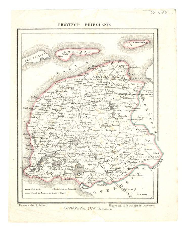Kaart van Friesland jaar onbekend