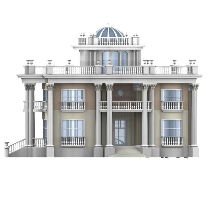 villa 3d max   Classic house design, Classic house ...