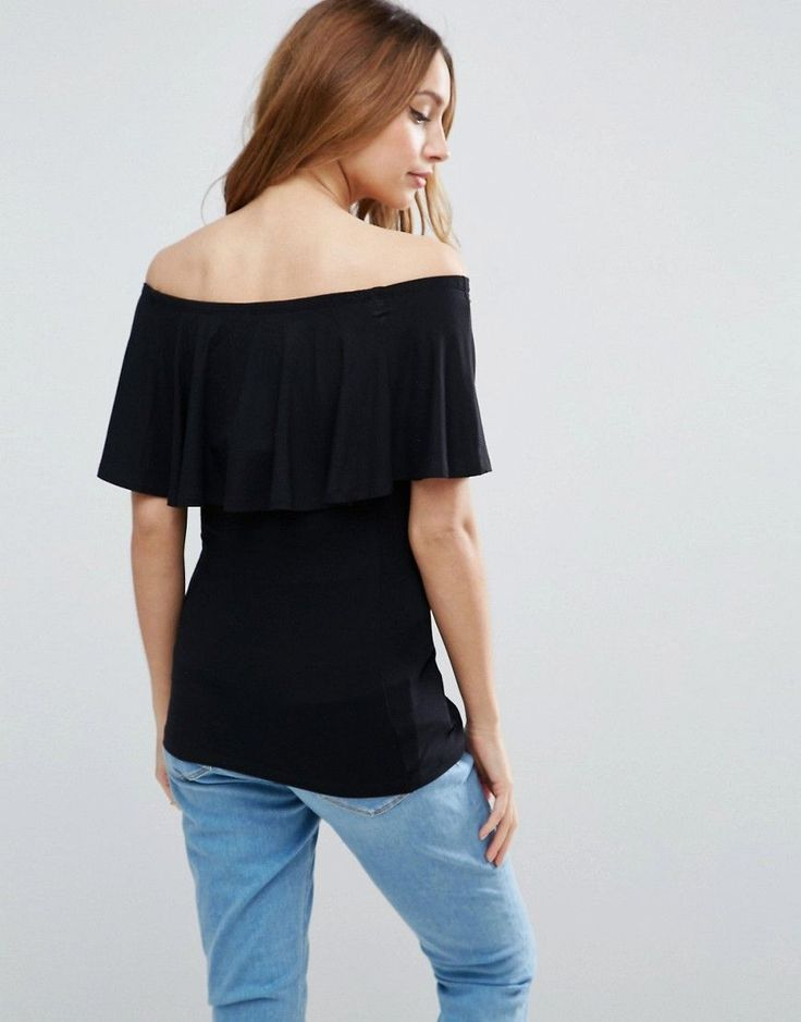 ASOS Maternity PETITE Bardot Top with Ruffle - Black