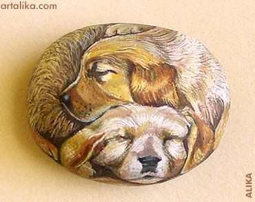 Hand painted rocks: dogs:Sleeping Golden Retriever Puppies