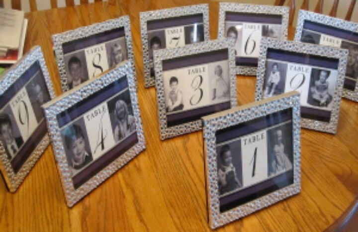 Wedding table idea. for the table number you have pictures from when the bride and groom were that age