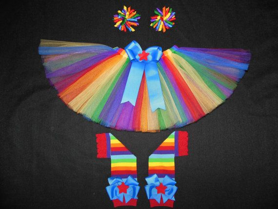 Rainbow Bright tutu set custom made up to a size by CatyRoseBows, $40.00- Absolutely ADORABLE!