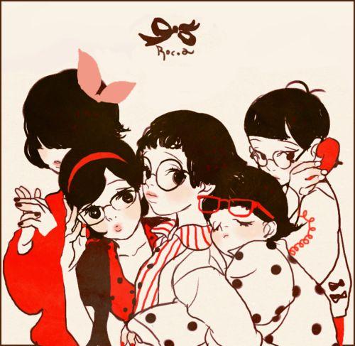 rocoba:    My tumblr background girls  red dot dot dot