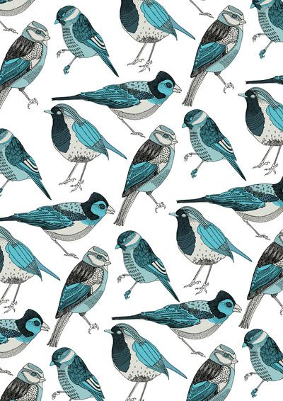 Bird Print: Birds Prints, Pale Green, Bluebirds, Hands Stamps, Birds Art, Art Prints, Blue Birds, Green Birds, Birds Patterns