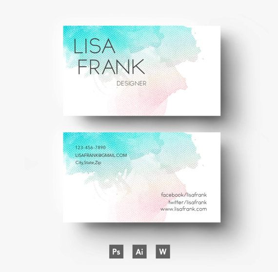 22 best Watercolour Business Cards images on Pinterest | Watercolor ...
