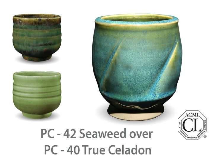 AMACO Potter's Choice layered glazes PC-40 True Celadon and PC-42 Seaweed.