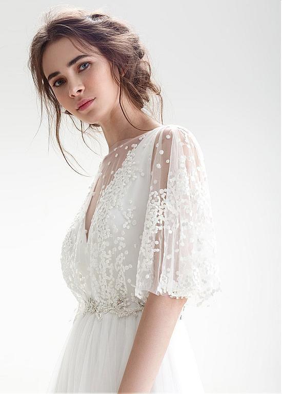 Kaufen Sie Rabatt Romantische Lace & Tulle Bateau Ausschnitt A-Linie Brautkleid mit Perlen an Ailsabridal.com