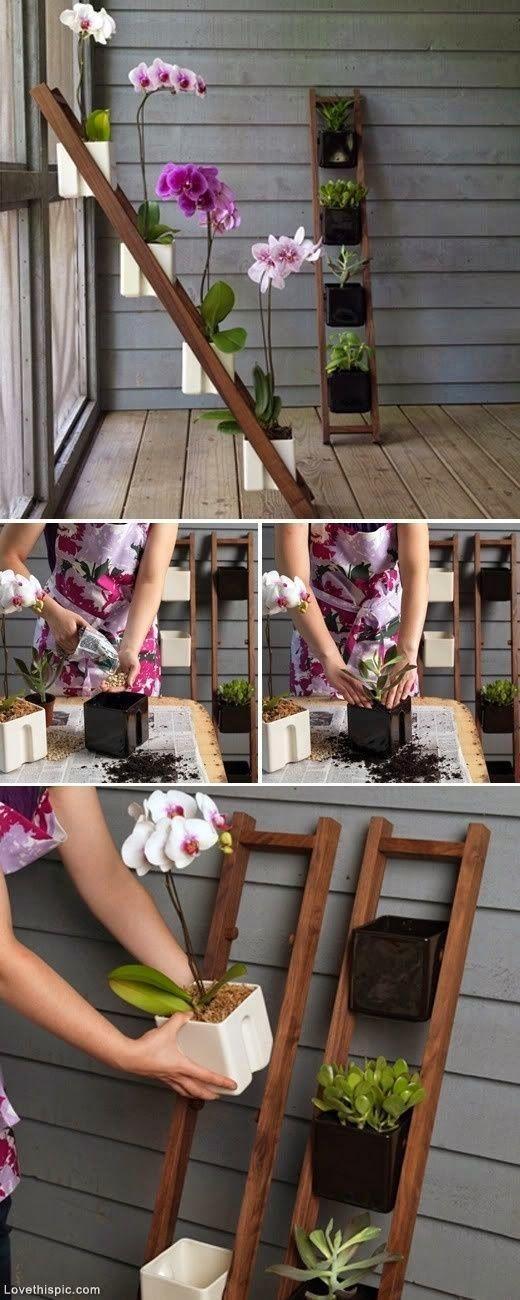 escada de madeira floreira