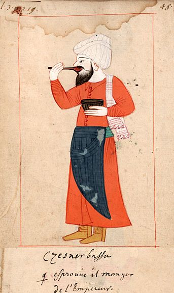 """Sultan's taster  """"Czesnerbassa qui éprouve il manger de l'Empereur""""  Cesnici basi. The 'Rålamb Costume Book' is a small volume containing 121 miniatures in Indian ink with gouache and some gilding, displaying Turkish officials, occupations and folk types. They were acquired in Constantinople in 1657-58 by Claes Rålamb who led a Swedish embassy to the Sublime Porte, and arrived in the Swedish Royal Library / Manuscript Department in 1886."""