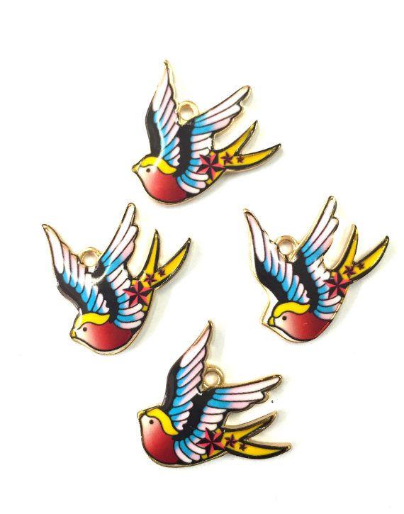 Kawaii Love Bird Enamel Charms 4pcs by KajaSupplies on Etsy