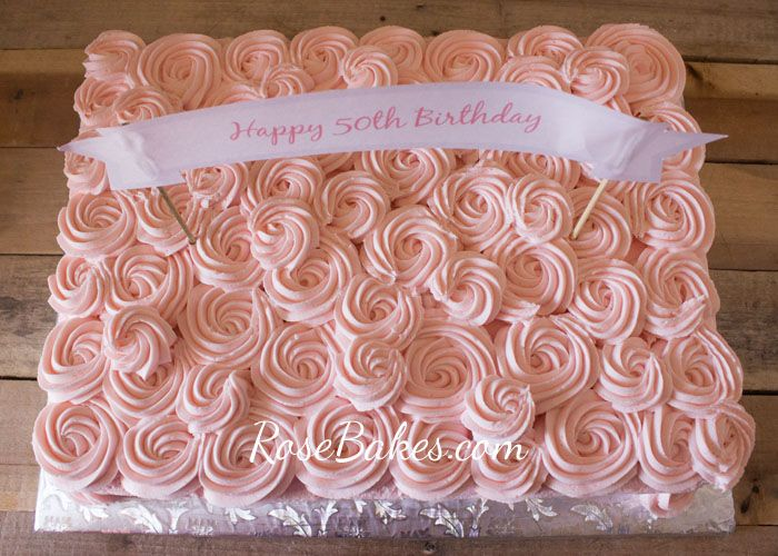 Pink Buttercream Roses Sheet Cake with Cream Cheese Buttercream Frosting