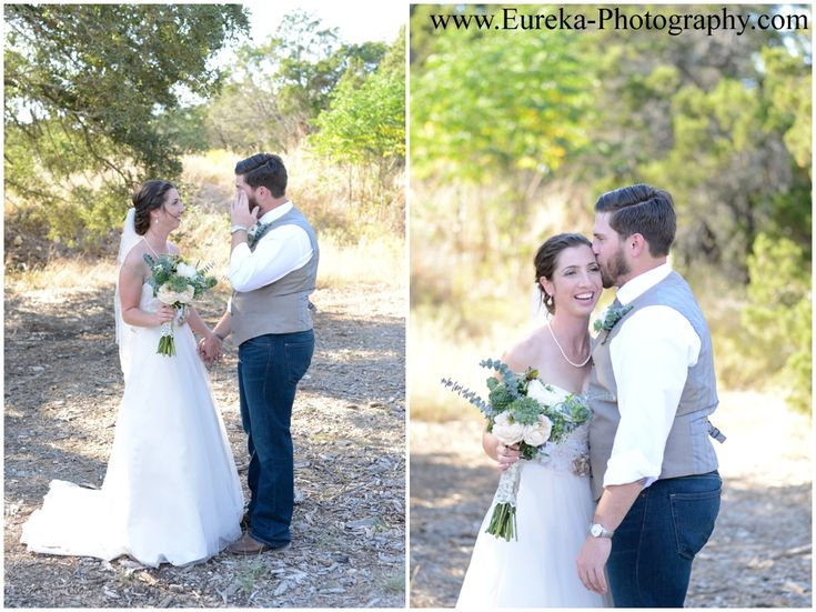 groom cries during first look at Twisted Ranch wedding