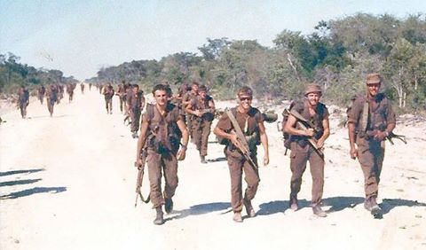 Still energy for a smile! Echo Company, 1 Parachute Battalion foot-slogging back to Eenhana. FB page WE SERVED WITH PRIDE