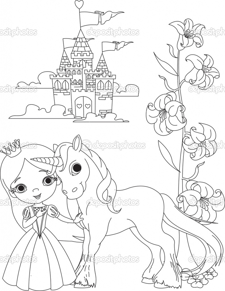 the beautiful princess and her cute unicorn coloring page buy this stock vector on shutterstock find other images - Art Nouveau Unicorn Coloring Pages
