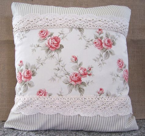 shabby chic pillows   Shabby Chic Roses Decorative Pillow Cover 18 x 18 Cottage Style