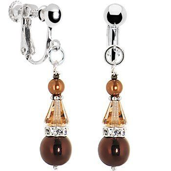 Handcrafted Bronze Pearl Captivation Clip Earrings MADE WITH SWAROVSKI ELEMENTS Body Candy. $13.99