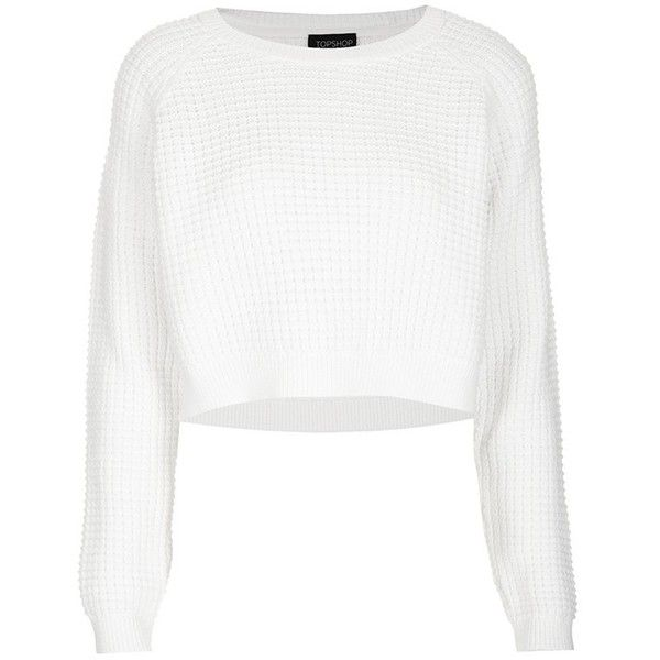 Topshop 'Fisherman' Crop Sweater ($68) ❤ liked on Polyvore featuring tops, sweaters, shirts, crop tops, jumpers, crop top, raglan sleeve shirts, waffle shirt, women tops and raglan sweater