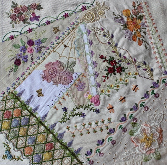 Best crazy quilting beading embroidery images