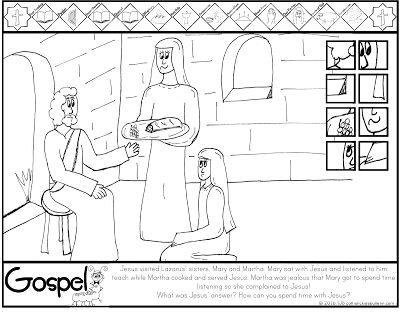 luke jesus mary and martha coloring page catholic kids
